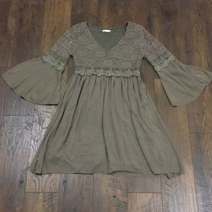 Easel brown lace boho bell sleeve dress